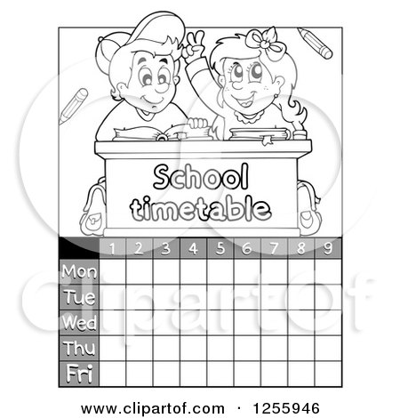 Clipart of a Grayscale School Timetable with Children at a Desk - Royalty Free Vector Illustration by visekart