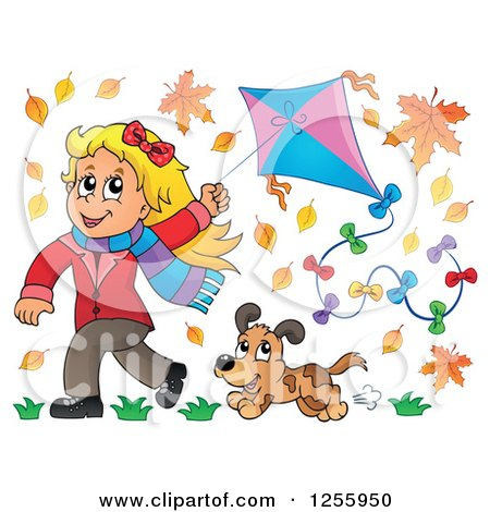 Clipart of a Happy Blond White Girl Running with a Kite and Dog Through Autumn Leaves - Royalty Free Vector Illustration by visekart