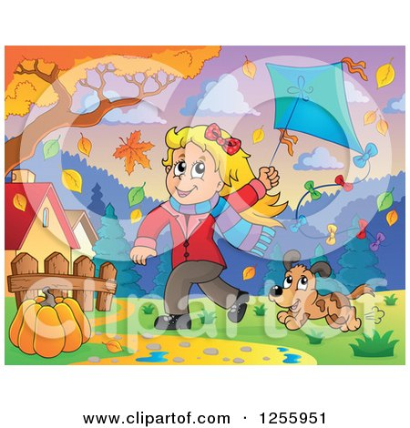 Clipart of a Happy Blond Caucasian Girl Running with a Kite and Dog Through Autumn Leaves - Royalty Free Vector Illustration by visekart
