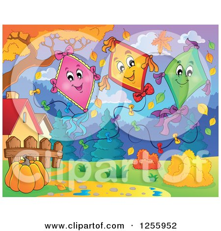 Clipart of Happy Kites in an Autumn Landscape - Royalty Free Vector Illustration by visekart