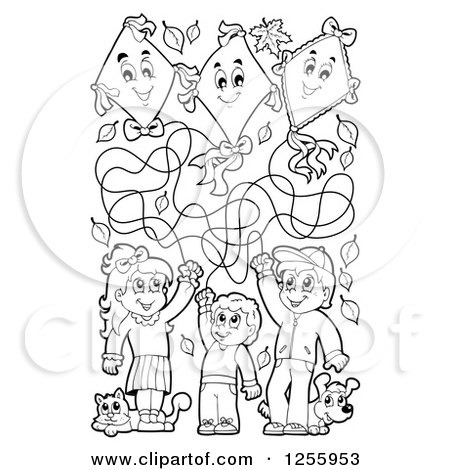 Clipart of Black and White Happy Children Flying Kites with a Cat and Dog - Royalty Free Vector Illustration by visekart