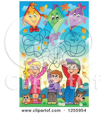 Clipart of Happy Children Flying Kites with a Cat and Dog - Royalty Free Vector Illustration by visekart