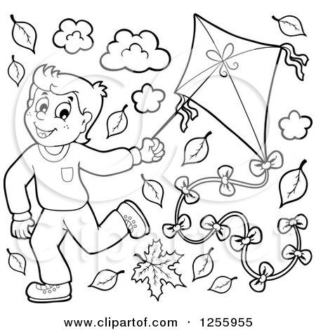 Clipart of a Happy Black and White Boy Running with a Kite Through Autumn Leaves - Royalty Free Vector Illustration by visekart
