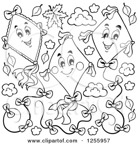 Clipart of a Black and White Happy Kites and Clouds with Leaves - Royalty Free Vector Illustration by visekart