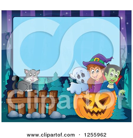 Clipart of a Halloween Background of a Witch Cat Ghost and Vampire over Blue Text Space - Royalty Free Vector Illustration by visekart