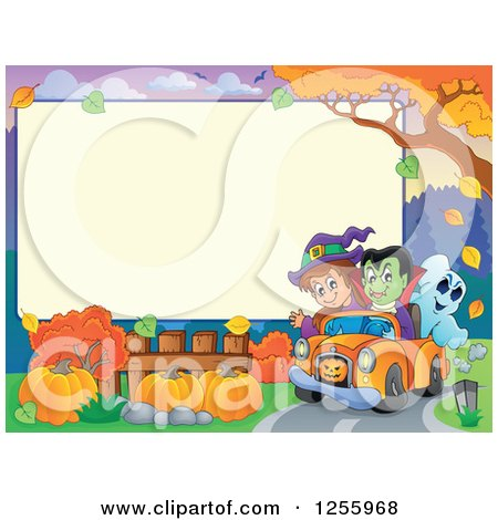Clipart of a Halloween Sign with a Vampire Witch and Ghost in a Car - Royalty Free Vector Illustration by visekart