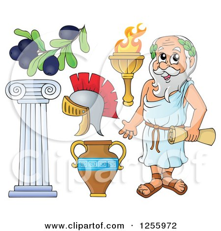 Clipart of a Greek Man and Items - Royalty Free Vector Illustration by visekart