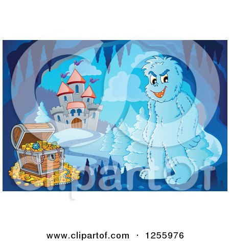 Clipart of a Yeti and Treasure Chest in a Winter Cave near a Castle - Royalty Free Vector Illustration by visekart