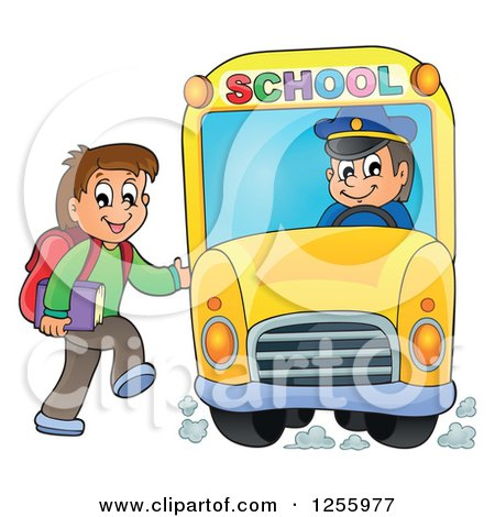 Clipart of a Happy Brunette White Boy Loading a School Bus - Royalty Free Vector Illustration by visekart