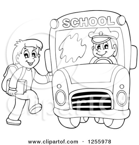 Clipart of a black and white happy boy loading a school bus clipart of a black and white happy boy loading a school bus royalty free vector illustration by visekart voltagebd Choice Image