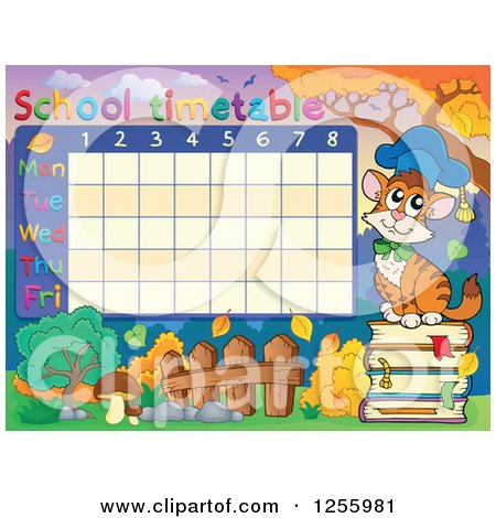 Clipart of a School Timetable with a Professor Cat - Royalty Free Vector Illustration by visekart