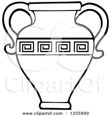 Clipart of a Black and White Greek Water Jug - Royalty Free Vector Illustration by visekart