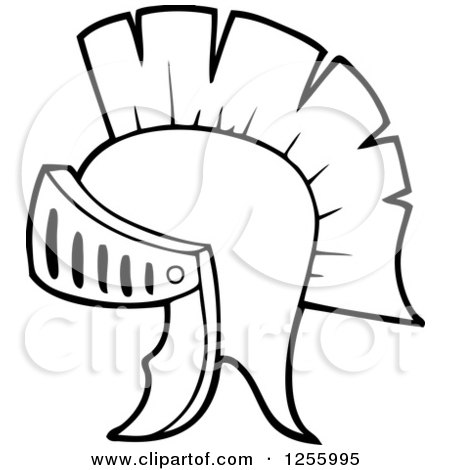 Clipart of a Black and White Greek Helmet - Royalty Free Vector Illustration by visekart