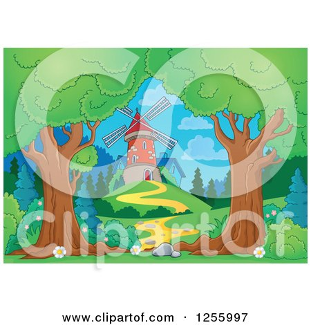 Clipart of a Path Leading to a Windmill - Royalty Free Vector Illustration by visekart