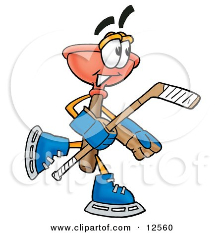 Clipart Picture of a Sink Plunger Mascot Cartoon Character Playing Ice Hockey by Toons4Biz