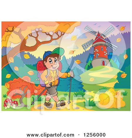 Clipart of a Happy Caucasian Man Hiking near a Windmill in the Fall - Royalty Free Vector Illustration by visekart