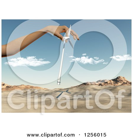 Clipart of a 3d Caucasian Female Hand Inserting a Wind Turbine in a Desert - Royalty Free Illustration by KJ Pargeter