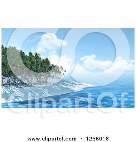 Clipart of a 3d Tropical Island Beach with White Sand and Palm Trees - Royalty Free Illustration by KJ Pargeter