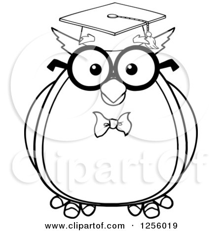 Clipart of a Black and White Wise Professor Owl - Royalty Free Vector Illustration by Hit Toon