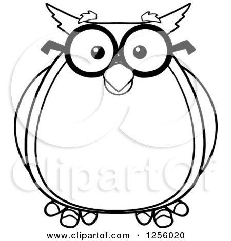 Clipart of a Black and White Wise Professor Owl in Glasses - Royalty Free Vector Illustration by Hit Toon