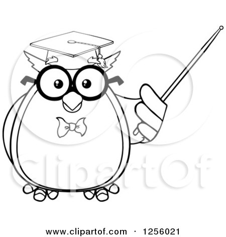 Clipart of a Black and White Wise Professor Owl Using a Pointer Stick - Royalty Free Vector Illustration by Hit Toon