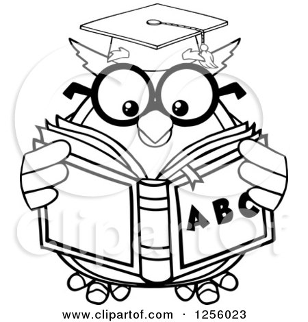 Clipart of a Black and White Wise Professor Owl Reading an Alphabet Book - Royalty Free Vector Illustration by Hit Toon