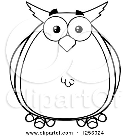 Clipart of a Black and White Owl - Royalty Free Vector Illustration by Hit Toon