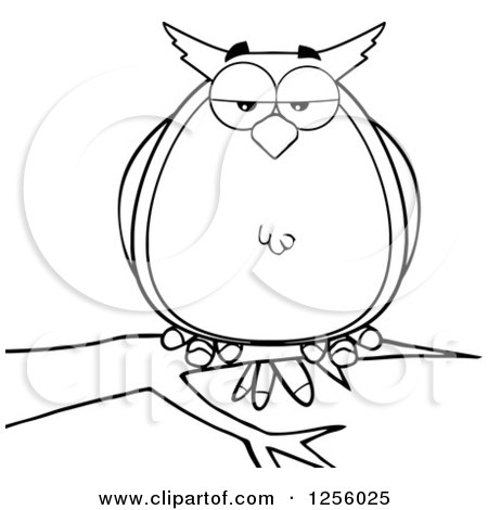 Clipart of a Black and White Owl on a Branch - Royalty Free Vector Illustration by Hit Toon