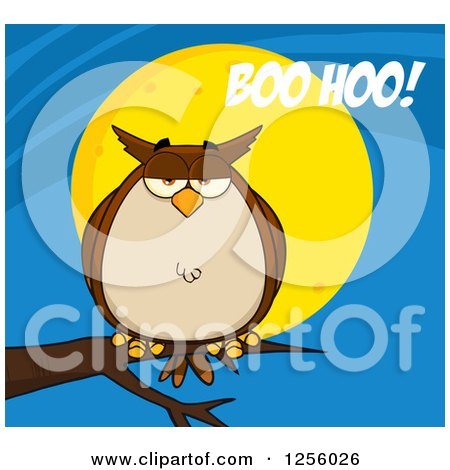 Clipart of a Brown Owl on a Branch over a Full Moon with Boo Hoo Text - Royalty Free Vector Illustration by Hit Toon