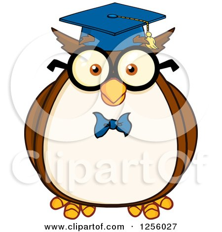 Clipart Of A Wise Professor Owl Royalty Free Vector Illustration