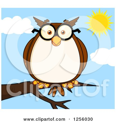 Clipart of a Wise Professor Owl in Glasses on a Branch - Royalty Free Vector Illustration by Hit Toon
