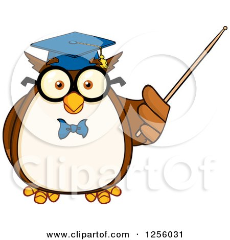Clipart of a Wise Professor Owl Using a Pointer Stick - Royalty Free Vector Illustration by Hit Toon
