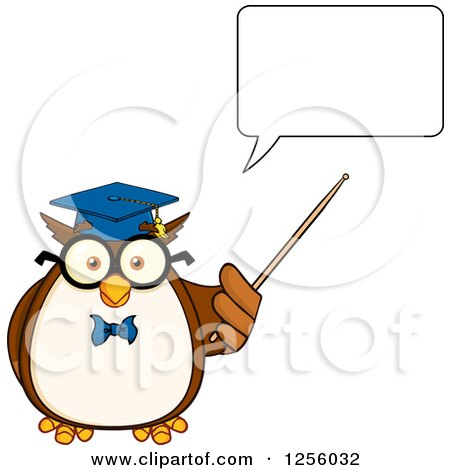 Clipart of a Talking Wise Professor Owl Using a Pointer Stick - Royalty Free Vector Illustration by Hit Toon