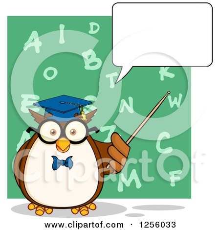 Clipart of a Talking Wise Professor Owl Using a Pointer Stick over an Alphabet Chalkboard - Royalty Free Vector Illustration by Hit Toon