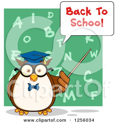 Clipart of a Back to School Wise Professor Owl Using a Pointer Stick over an Alphabet Chalkboard - Royalty Free Vector Illustration by Hit Toon