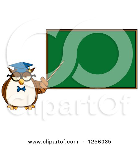 Clipart of a Wise Professor Owl Pointing to a Chalkboard - Royalty Free Vector Illustration by Hit Toon
