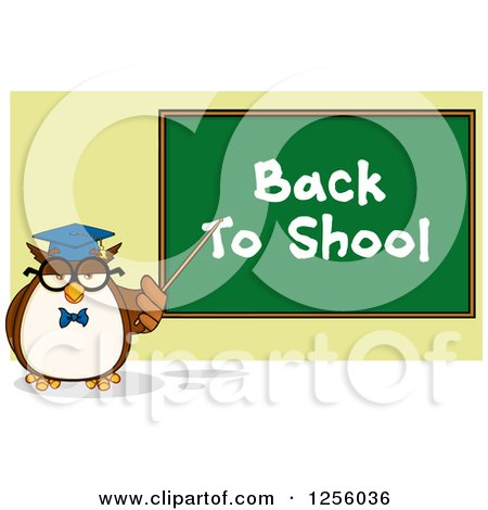 Clipart of a Wise Professor Owl Pointing to a Back to School Chalkboard - Royalty Free Vector Illustration by Hit Toon