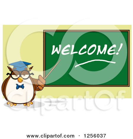 Clipart of a Wise Professor Owl Pointing to a Welcome Chalkboard - Royalty Free Vector Illustration by Hit Toon