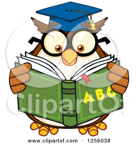 Clipart of a Wise Professor Owl Reading an Alphabet Book - Royalty Free Vector Illustration by Hit Toon
