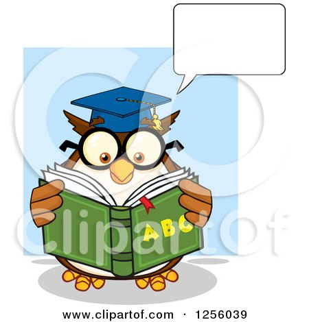 Clipart of a Talking Wise Professor Owl Reading an Alphabet Book - Royalty Free Vector Illustration by Hit Toon