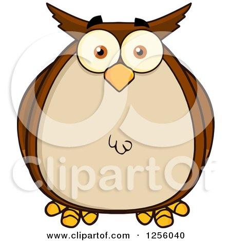 Clipart of a Brown Owl - Royalty Free Vector Illustration by Hit Toon