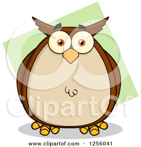 Clipart of a Brown Owl over Green - Royalty Free Vector Illustration by Hit Toon