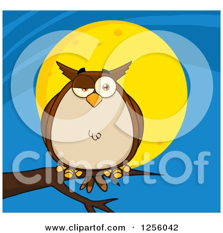 Clipart of a Brown Owl on a Branch over a Full Moon - Royalty Free Vector Illustration by Hit Toon