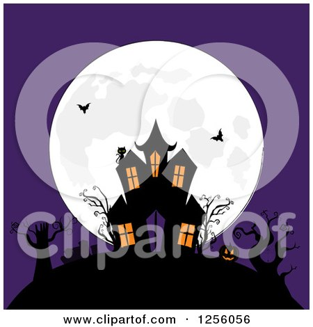 Clipart of a Haunted Mansion with Bats on a Hill Against a Full Moon and Purple Sky - Royalty Free Vector Illustration by elaineitalia