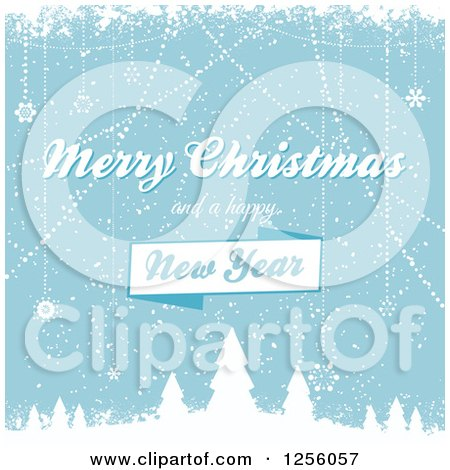 Clipart of a Blue Winter Background with Merry Christmas and a Happy New Year Text - Royalty Free Vector Illustration by elaineitalia