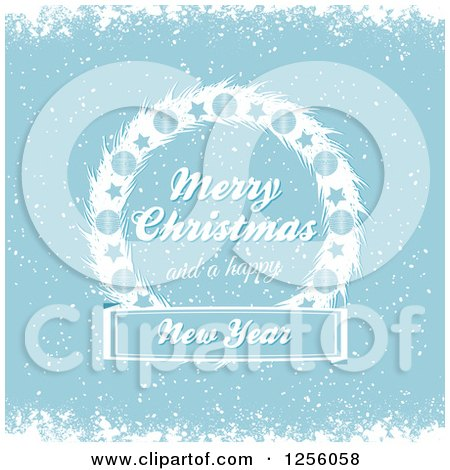 Clipart of a Blue Winter Background with Merry Christmas and a Happy New Year Text on a Wreath - Royalty Free Vector Illustration by elaineitalia