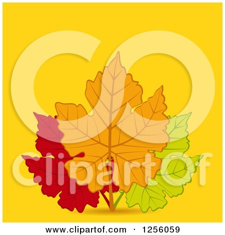 Clipart of a Trio of Autumn Leaves over Yellow with Text Space - Royalty Free Vector Illustration by elaineitalia