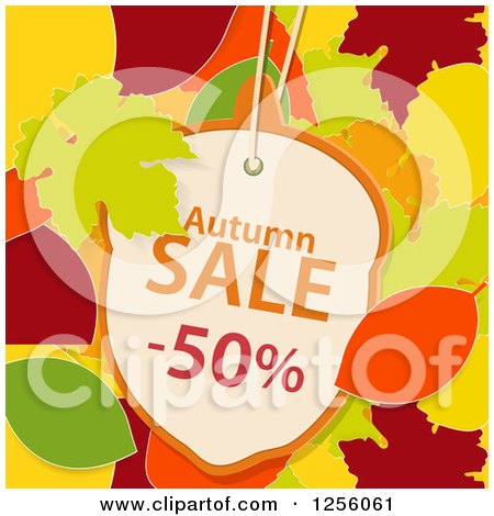 Clipart of an Acorn Shaped Autumn Sale Fifty Percent off Discount Tag over Autumn Leaves - Royalty Free Vector Illustration by elaineitalia