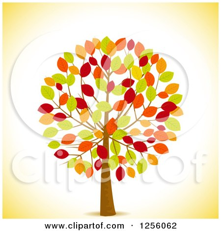 Clipart of a Tree with Colorful Autumn Leaves over Yellow - Royalty Free Vector Illustration by elaineitalia