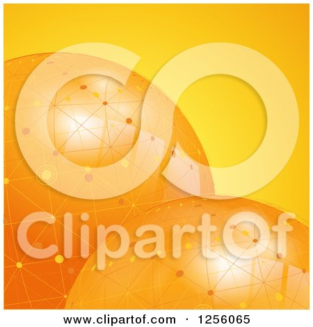 Clipart of 3d Orange Globes with Network Connections - Royalty Free Vector Illustration by elaineitalia